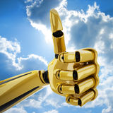 Gold 3d robotic hand with thumb up. Gold 3d robotic hand giving the yeah sign. Including clipping path Royalty Free Stock Photos
