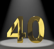 Gold 40th Or Forty 3d Number. Gold 40th 3d Number Representing Anniversary Or Birthdays royalty free illustration