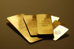 Gold. Bars are isolated on background Royalty Free Stock Photography