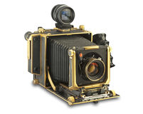 Gold 4x5 view camera with clipping path. Gold 4x5 press and view camera on white with clipping path Stock Photography