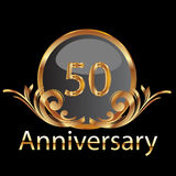 Gold 50th anniversary. Birthday vector Royalty Free Stock Images