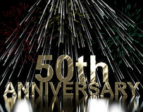 Gold 50th Anniversary With Fireworks. For Celebration Or Parties Royalty Free Stock Photos