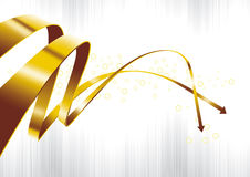 Gold. A group of golden arrows pointing Royalty Free Stock Images