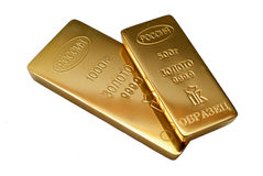 Gold. Ingots as the sample on a white background Royalty Free Stock Photo