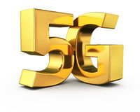 Gold 5G. Big golden letters 5G on white Stock Image