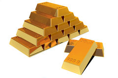 Gold. Pile of pure Gold bars in withe background Stock Photo