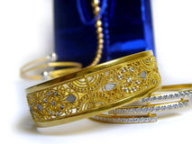 Gold. Collection of Indian golden jewellery royalty free stock photo