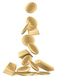 Gold. Coins and  bars, conceptual business illustration Royalty Free Stock Photography