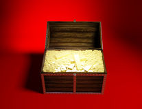 Gold. Trunk with gold on a red background Stock Photography
