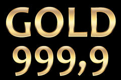Gold 999.9. To indicate the purity of gold Royalty Free Stock Photos