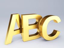 Gold ABC Letters.  Education concept. 3d illustration Stock Image