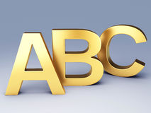 Gold ABC Letters.  Education concept. 3d illustration Royalty Free Stock Photography