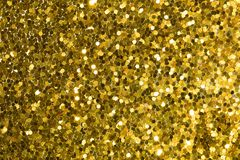 Gold abstract background with bokeh, defocused christmas lights. Festive concept. Top view stock illustration