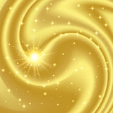 Gold abstract background with stars and particles. Vector illustration Stock Photography
