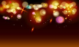 Bokeh lights wallpaper. Gold abstract bokeh background, shiny defocus lights vector. Gold defocused sparkles, blurred,glowing effect  transparent, magic Royalty Free Stock Images