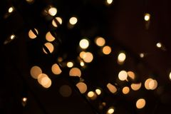 Gold Abstract bokeh Background from small bulbs Stock Photos