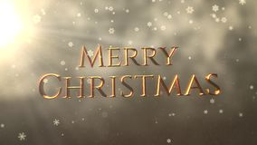 Gold abstract bokeh particles falling and animated closeup Merry Christmas text on shiny background. Luxury and elegant dynamic style template for winter stock video footage