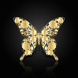 Gold abstract butterfly on black background Stock Photography