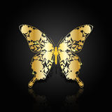 Gold abstract butterfly on black background Royalty Free Stock Photos