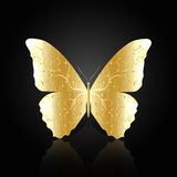 Gold abstract butterfly on black background royalty free illustration