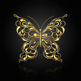 Gold abstract butterfly on black background stock illustration