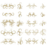Gold abstract curly design element set  on white background. Dividers. Swirls. Royalty Free Stock Images