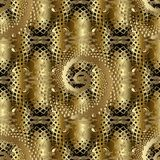 Gold abstract 3d paisley seamless pattern. Surface vector lace background wallpaper with lattice shapes, spiral dotted figures, halftones, swirls, flowers stock illustration