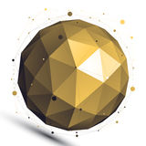 Gold abstract 3D vector network object, art spherical glossy fig Stock Images