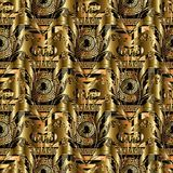 Gold abstract 3d vector seamless pattern. Floral baroque backgro. Und with  geometric shapes, figures, circles, meanders, greek key ornaments. 3d golden flowers Royalty Free Stock Photo