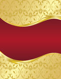 Gold Abstract floral background. With wave red banner illustration Royalty Free Stock Photos