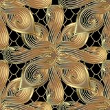 Gold abstract floral 3d vector seamless pattern. Ornamental grid. Lattice snake skin stye background. Modern decorative rich ornament with hand drawn striped Royalty Free Illustration