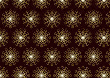 Gold Abstract Flower Pattern and Technology on Bro Stock Photo