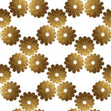 Gold abstract flowers pattern. Hand painted floral seamless background. Royalty Free Stock Photography