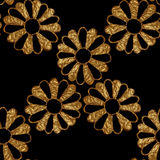 Gold abstract flowers pattern. Hand painted floral seamless background. Stock Image