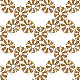 Gold abstract flowers pattern. Hand painted floral seamless background. Royalty Free Stock Photos