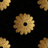 Gold abstract flowers pattern. Hand painted floral seamless background. Stock Images