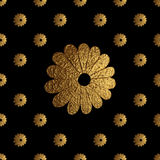 Gold abstract flowers pattern. Hand painted floral seamless background. Royalty Free Stock Image