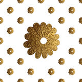 Gold abstract flowers pattern. Hand painted floral seamless background. Royalty Free Stock Images