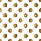 Gold abstract flowers pattern. Hand painted floral seamless background. Stock Photography