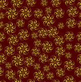 Gold abstract flowers on red background. For design, wallpaper, cover invitation, fabric and textile Royalty Free Illustration