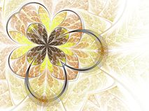 Gold abstract fractal leaf Royalty Free Stock Image