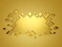 Gold abstract geometric background from cubes. 3d render Royalty Free Stock Image
