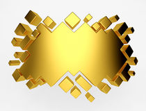Gold abstract geometric background from cubes. 3d render. Ing stock illustration