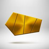 Gold Abstract Geometric Button Template Royalty Free Stock Image