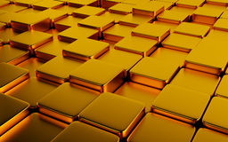 Gold abstract image of cubes background. 3d render Royalty Free Stock Photos