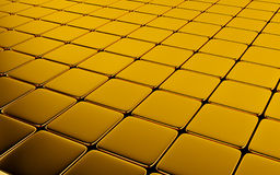 Gold abstract image of cubes background. 3d render Stock Photography