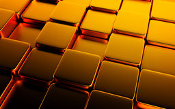 Gold abstract image of cubes background. 3d render Stock Photo