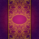 Gold abstract invitation floral violet frame Royalty Free Stock Photography