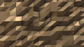 Gold abstract low poly triangle field. 4k stock footage