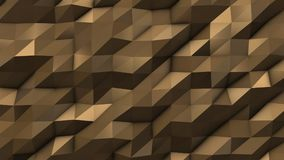 Gold abstract low poly triangle field. 4k Royalty Free Stock Photography